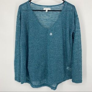 NWOT Aeropostale Large Sweater Teal Blue & Silver